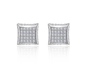 Sterling Silver White Cubic Zirconia Square Micropave Stud Earrings 9