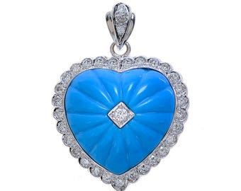 1.00 Carat Diamond And Turquoise Heart Pendant 18K White Gold