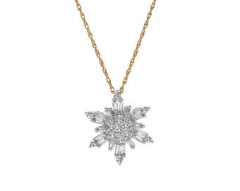 14K Yellow Gold CZ Snowflake Pendant Necklace