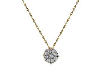 "0.25 Carat Round Diamond Cluster Pendant on 17"" Chain 14K Yellow Gold"