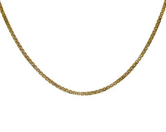 14k Yellow Gold Over Silver Double Box Link Chain Made In Italy 16""