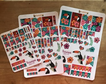 Toucan planner stickers. Available in pocket / personal size. Mini happy planner and classic happy planner size. Deco stickers