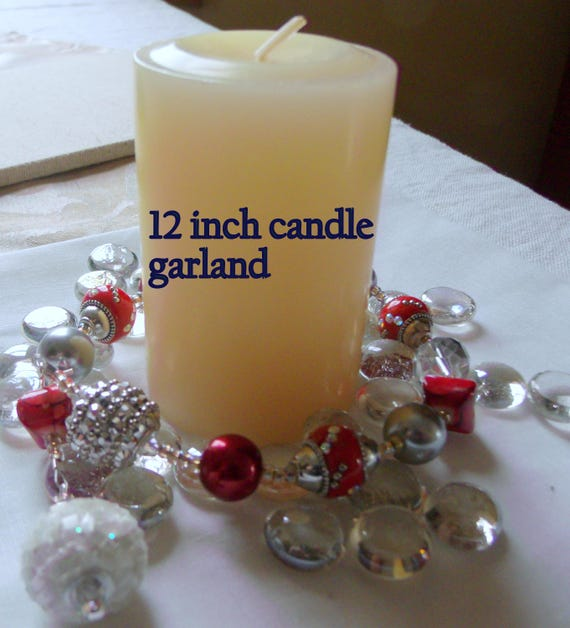 Red candle garland -  glamour -  fire and ice - ring bling - table decoration - pillar- container- tin - house warming - beaded candle decor