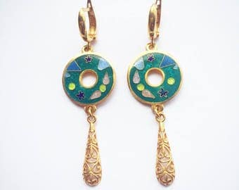 Cloisonne Enamel Earrings, Sterling Silver, Covered with gold