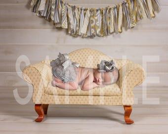 Newborn digital backdrop - Newborn digital background - Little Yellow couch - Newborn digital prop