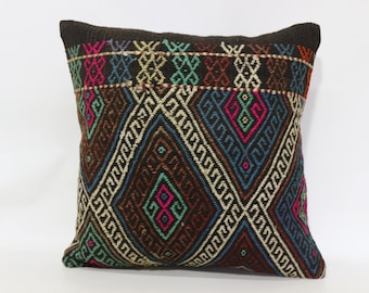 20x20 Handwoven Kilim Pillow Sofa Pillow 20x20 Anatolian Kilim Pillow Throw Pillow Embroidered Kilim Pillow Cushion Cover SP5050-1878