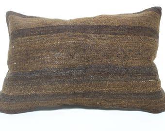 Brown Kilim Pillow Home Decor Cushion Cover 16x24 Throw Pillow Sofa Pillow Striped Kilim Pillow Bedroom Kilim Pillow SP4060-902