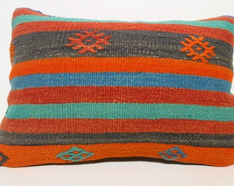 Multicolor Kilim Pillow Striped Kilim Pillow 16x24 Decorative Kilim Pillow Anatolian Turkish Kilim Pillow Home Decor SP4060-965