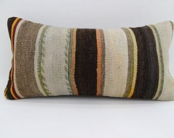 Black Striped Kilim Pillow 12x24 White Kilim Pillow Throw Pillow 12x24 Lumbar Pillow Ethnic Pillow Bohemian Pillow Cushion Cover SP3060-1732
