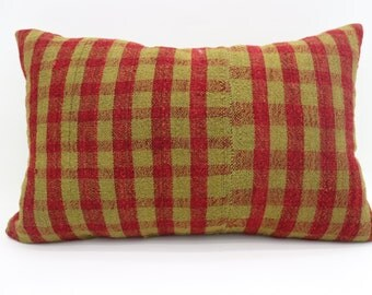 16x24 Kelim Kissen Plaid Pillow Striped Pillow 16x24 Yellow Kilim Pillow Red Kilim Pillow Throw Pillow Boho Pillow Cushion Cover SP4060-1282