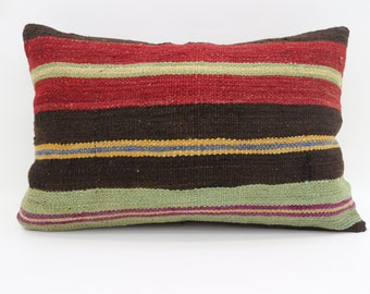 16x24 Kilim Pillow Covers Turkish Decorative Pillow Boho Pillow 16x24 Blue Pillow Striped Pillow Multicolor Pillow Cushion Cover SP4060-1300