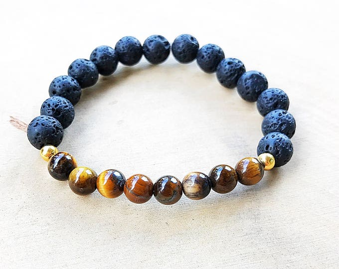 Tiger's Eye Lava Stone Bead Bracelet, Aromatherapy Jewelry, Essential Oil Diffuser, Healing Crystal, Stretch Bracelet, Handmade, Bohemian