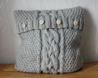 Cable sweater pillow throw, knitted pillow cover, hand knitted cushion, decorative pillow