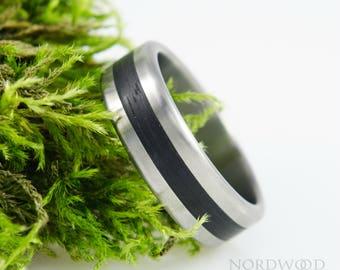 Titanium & BOG OAK ring