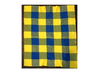 """Vintage blue and yellow wool checkered blanket 43"""" x 51"""""""