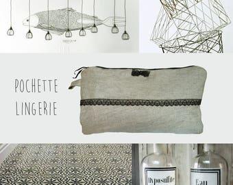 Grey linen Lingerie bag and Black Lace romantic elegant women