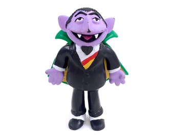 "The Count Seasame Street Muppets PVC Action Figure 1996 Applause 4.5"" Jim Henson Bendy 90s Hard Rubber Plastic Mini Miniature Dracula Rare"