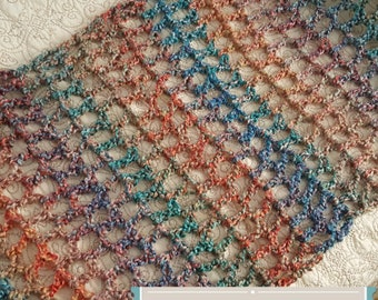 Spring or Winter, Super Soft, Cozy Wrap Scarf / Lion Brand Homespun Thick & Quick Yarn, Warm, Airy, Light