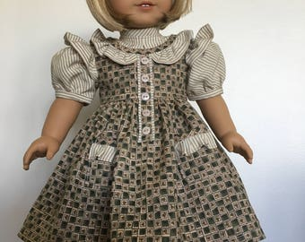 Prairie Ruffles Dress with Pinafore Fits American Girl Dolls