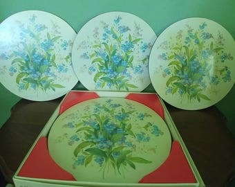Vintage Set of 6 Round Pimpernel Placemats-Forget Me Nots