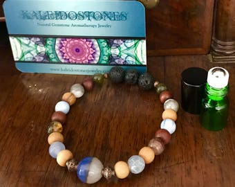 Men's Aromatherapy bracelet with beads of Agate, Jasper, sandalwood and Lava stines