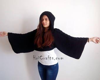Hand knit sweater, Women's sweater, Crop sweater, Jumper, Winter sweater, Hooded sweater, Wool pullover, Black knitted sweater, Winter knits