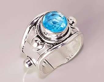 E2 London Blue Topaz Beautiful Handmade Design .925 Sterling Silver Plated Jewelry Rings