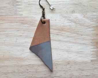 Leather earring, single earring, one earring