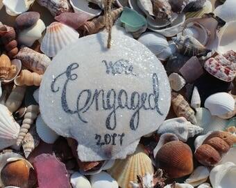 We're Engaged Beach Engagement, Engagement Ornament, Engagement Announcement, Engagement Decor, Wedding Beach Decor, Coastal Wedding