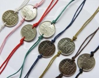 Netherlands colored coin bracelet 1982 - 1983 - 1984 - 1985 - 1986 - 1987 - 1988 - 1989 Holland Dutch