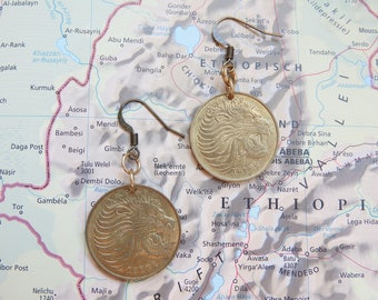 Ethiopia coin earrings -  2 different designs - made of original coins with a picture of a lion or antilope - South Africa
