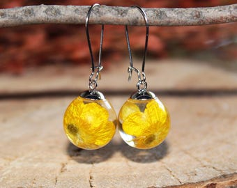 Yellow Flower Earrings Nature Lover Gift Jewelry, Inspire Earrings Gift Cute Jewelry Modern, Drop Earrings Plant Jewelry Resin Gift For Her