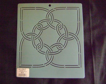 Sashiko Japanese Embroidery or Traditional Quilting Stencil 7 in. Celtic Heart Motif Block/Quilting