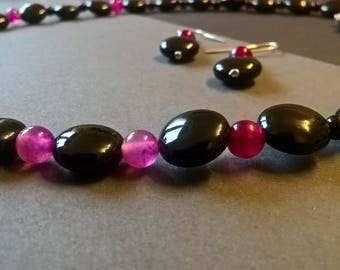 "Black Onyx and Pink Agate Necklace - ""Nightlife"""