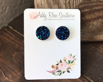 12mm blue mermaid druzy earrings in silver, druzy earrings, druzy studs, new stockist special free shipping