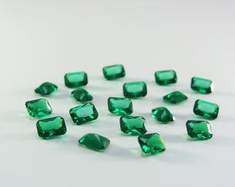 Emerald Green Octagon Princess Cut SIZE CHOICE Loose Stones Nanocrystal Gemstones