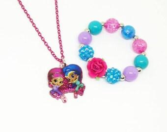Shimmer and Shine necklace bracelet jewelry set
