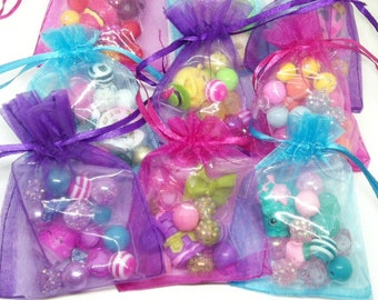 5 Shopkins bracelet kits party favors bracelet kits in organza bags - 5 complete bracelet kits with 12mm acrylic beads