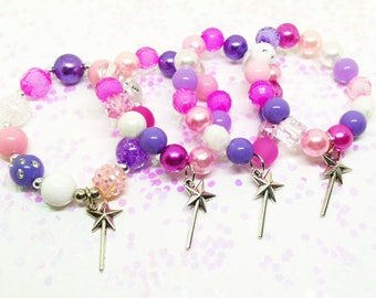 Girls party favors bracelets with special birthday girl bracelet - princess fairy wand - Free organza bags with orders of 10 + bracelets