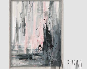 """Abstract illustration ''Rose doux"""" / Grey and pink / Illustration, mural decoration, modern art / Painting style"""