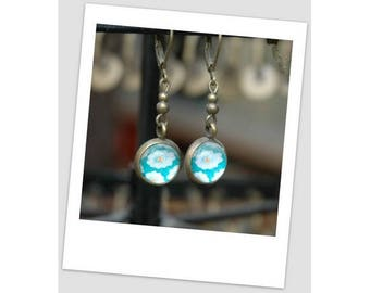 Bronze turquoise cabochon earrings