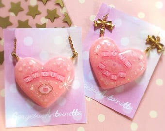 Love Necklace - love game amour pink gliterry heart jewel