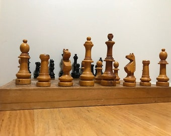 Chess Game Nice Antique Wooden Carve Chess Black and Brown Pieces Chess The Panel Convert in a Box to Keep the Pieces.