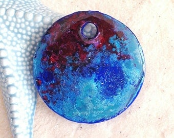 Cosmic purple-blue-turquoise round pendant / deco door / decor / mobile/dream catcher