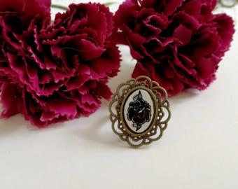 Black Rose little cammeo ring