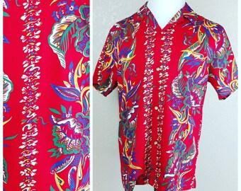 Vintage Red Kalaheo Hawaiian Shirt