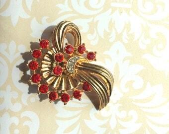 Vintage Brooch- Red Crystals