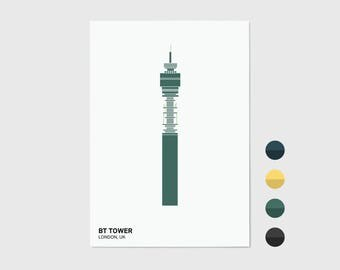 BT Tower, London Print | London Artwork | London Illustration | Architecture Print | City Print