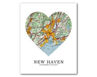 New Haven Map Heart Print, New Haven Map Art, Connecticut Map, Heart Map Print, Custom New Haven Map, New Haven CT, 8 x 10 inches, Unframed