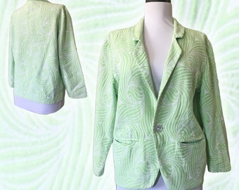 Vintage Mint Green Cotton Jacquard Blazer — Small